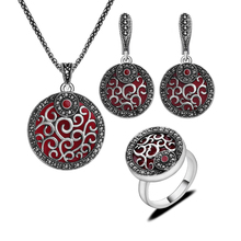 2017 New Arrival Silver Plated Antique Jewellery Round Pendant Red Resin And Black Rhinestone Vintage Fashion Jewelry Sets
