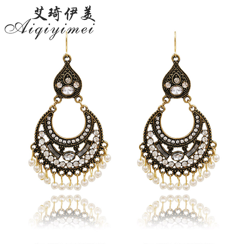 Jewelry & Accessories Purposeful Aiqiyimei New Design Fashion Statement Crystal Big Crescent Drop Earrings For Women Bohemia Retro Vintage Pearl Tassel Earring Sophisticated Technologies
