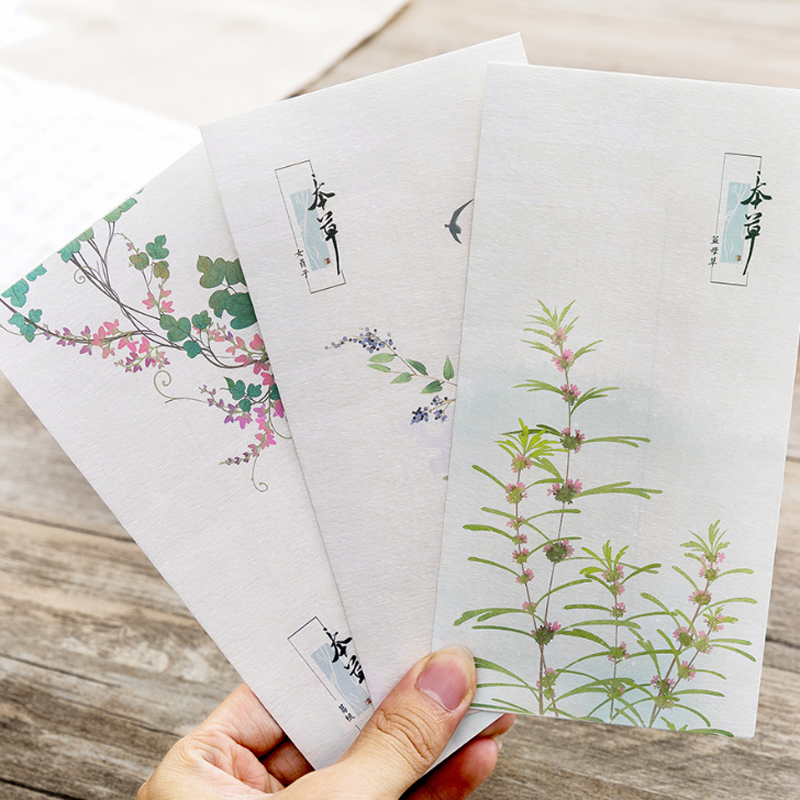 6 Pcs Pack Cute Japanese Style Plant Grass Flowers Envelope Message Card Letter Stationary Envelopes Paper Gift