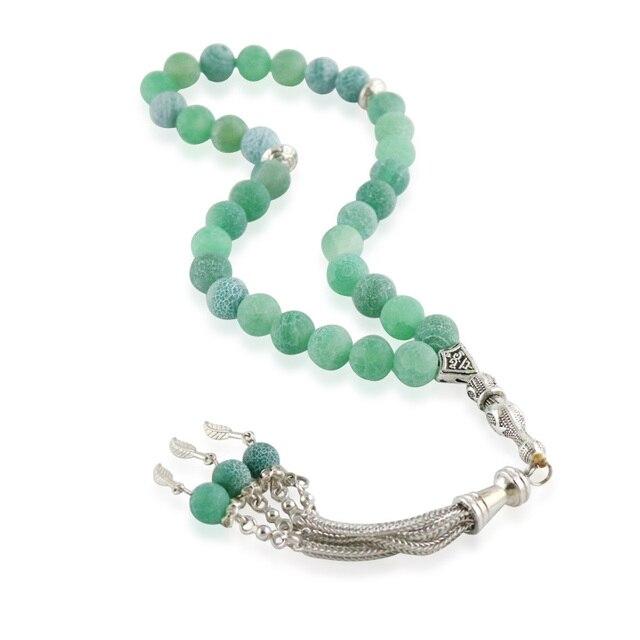 """100% צמיד אגת טבעית האסלאמי מוסלמי tasbih אללה מחרוזת תפילה 33 חרוזים ירוקים ברקת עבור אבן צמיד 6 10 מ""""מ"""
