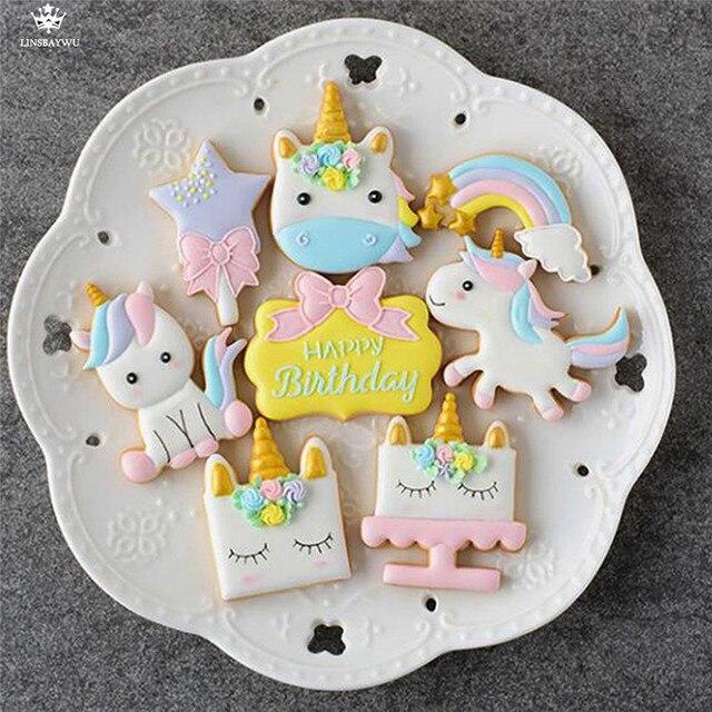 8 шт./компл. Творческий Единорог печенья DIY помадка шоколадный торт трафарет для Тиснения Плесень печенье Форма для выпечки инструмент