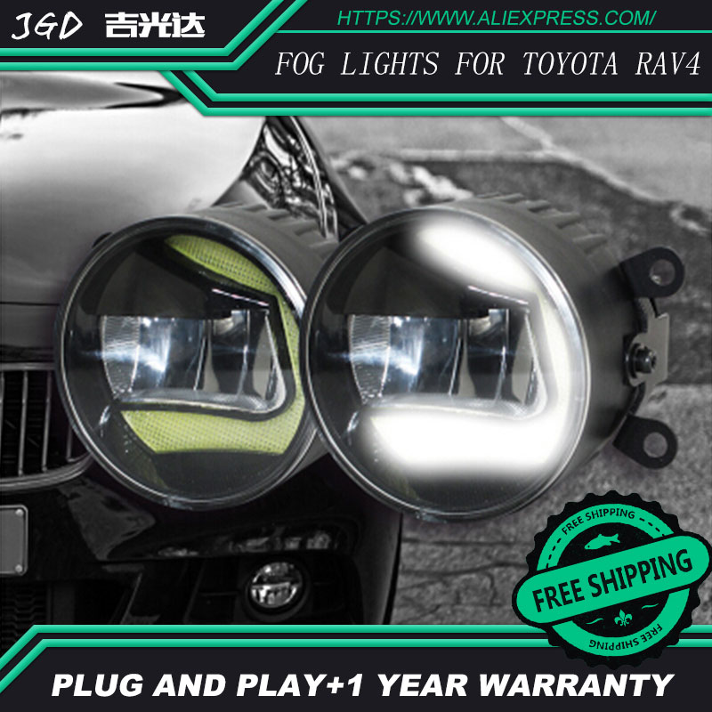 For Toyota RAV4 LR2 Car styling front bumper LED fog Lights high brightness fog lamps 1set led front fog lights for renault koleos hy 2008 2013 2014 2015 car styling bumper high brightness drl driving fog lamps 1set