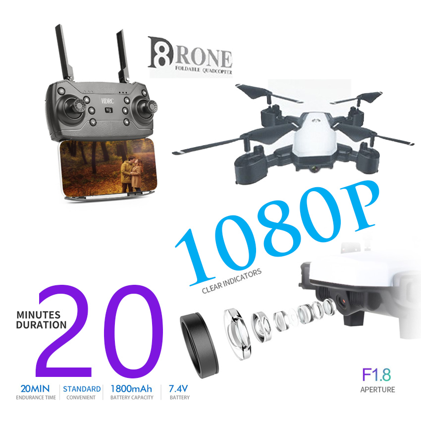 D8 rc Drone With HD 1080P Wifi Camera FPV rc Quadcopters Folding RC Helicopter long battery life VS KY601S E58 image