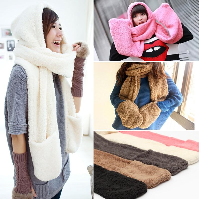 Winter Warm Women Hoodie Gloves Pocket Earflap Hat Long Scarf Shawl Snood Wraps Women Winter Gloves Hat Scarf
