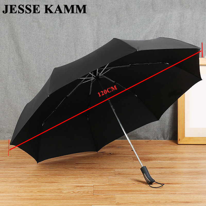 JESSEKAMM 2-3 People 27' Windproof Compact Strong Folding Umbrellas Pongee Canopy Rubber Paint Handle 120cm Big Large Men Gentle