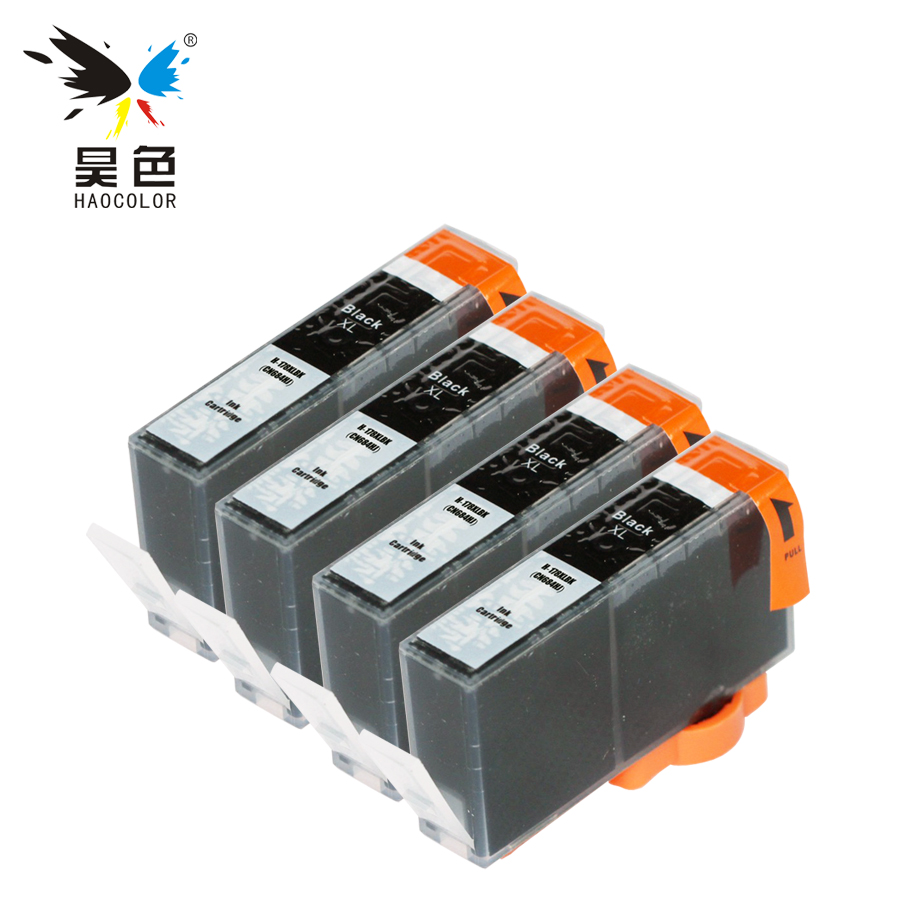 HAOCOLOR 4Pcs Black Compatible Ink Cartridge with chip For HP 178xl 178 HP178 <font><b>HP178XL</b></font> cartridge printers image