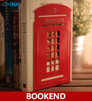 Creative Telephone Booth Metal Book Ends , Novelty Vintage Phone Booth Bookend as book stand for home and office creative book shaped wired telephone deep blue