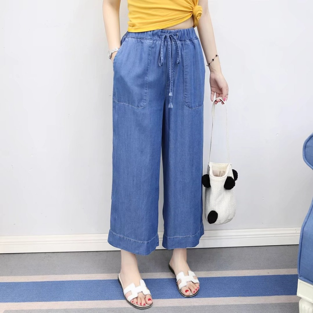 Cthink Autumn Wide Leg Pants Jeans Women 2017 New Elastic Waist Good Quality Ankle Length Womens Jeans Solid Loose Denim Pant jones new york new solid winter white women s 8 wide leg dress pants $99 346