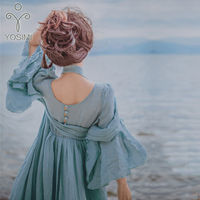 YOSIMI 2018 Summer Long Woman Dress Party High Quality Maxi Elegant Cotton And Linen Fairy Long Dress For Travel V neck Loose