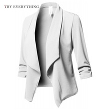 White Blazer Women Long Ladies Jackets And Blazers Pink Sleeve Woman 2019 Plus Size For