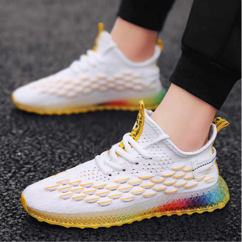2019 Новая мужская повседневная обувь, дышащая мужская обувь, модная обувь с радужной подошвой, легкие удобные дышащие Прогулочные кроссовки