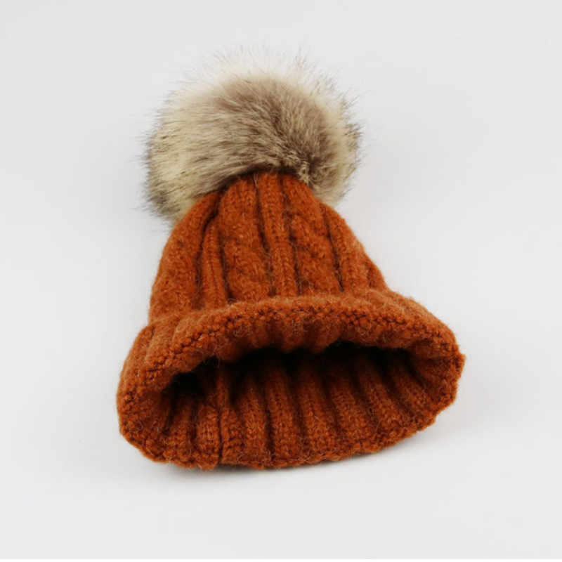 ab647b9d955 ... faux rabbit fur pompom kids knitted hat solid thicker warm children wool  skullies beanie baby girl ...