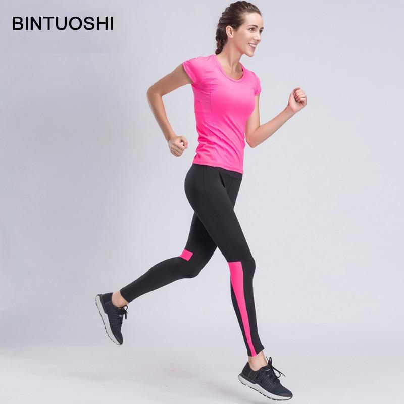 BINTUOSHI Women Yoga Sets Girls Costume Tracksuit Gym T-shirt + Tight Sportswear Legging Pants Jogging Fitness Suits Sport Set silk