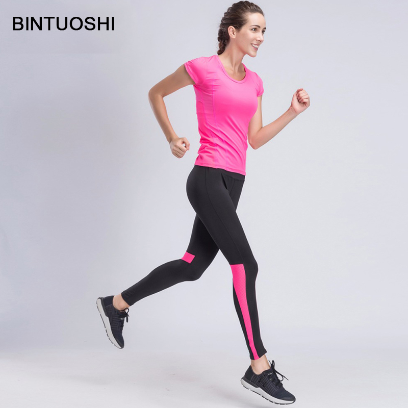 212c704a7f BINTUOSHI Women Yoga Sets Girls Costume Tracksuit Gym T-shirt + Tight  Sportswear Legging Pants
