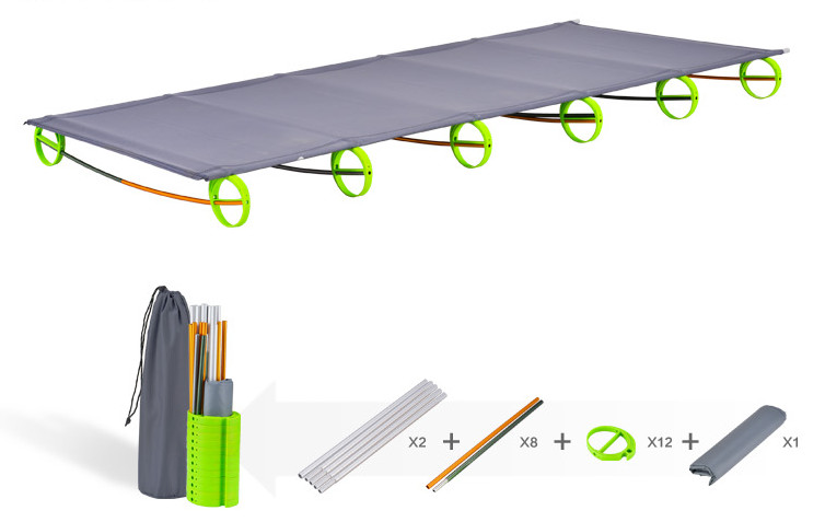 200kg Bearing Ultralight Aluminium alloy Portable Folding Camping bed nursing office lunch cot Easy Install Movable sleeping bed