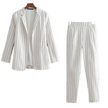 Spring Autumn Women Set Striped White blazer And Jacket Vintage Striped Print Pencil Pants Women Elegant Outfit Suit Casual 2Pcs(China)