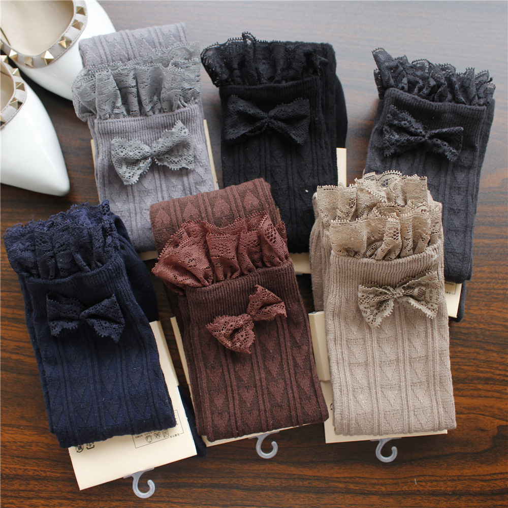 Spring Autumn Winter Warm Stockings Lace Bow Japanese Thigh High Stockings Girls <font><b>Kawaii</b></font> <font><b>Knee</b></font> <font><b>Socks</b></font> Heart Printed High Stocks image