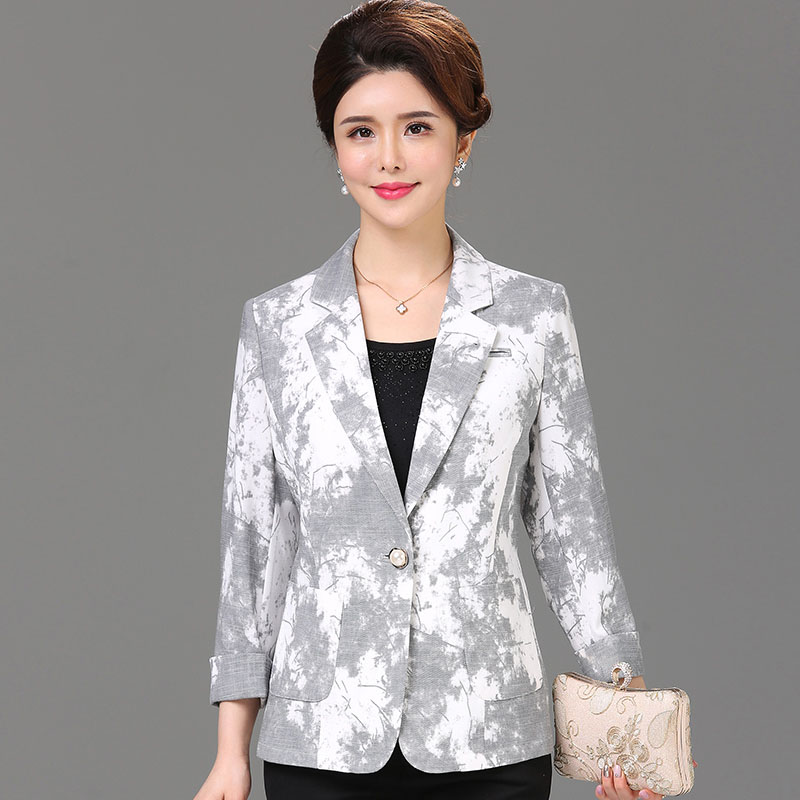 2019 Summer new arrival cool thin blazers women pattern print plus size single button slim short jackets without lining(China)