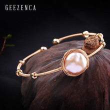 14K Roll Gold Baroque Pearl Handmade Craft 925 Sterling Silver Bangles Trendy Luxury Bracelet Bangles Fine Jewelry for Women nymph seawater pearl bracelets fine jewelry near round natural pearl bangles for women gold trendy anniversary gift [s308]
