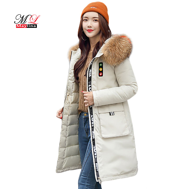 MLinina Coats Women Winter 2018 Faux Fur Collar Hooded Cotton Padded Jacket Thicken Warm Winter Jacket Coat Long   Parkas   Outwear