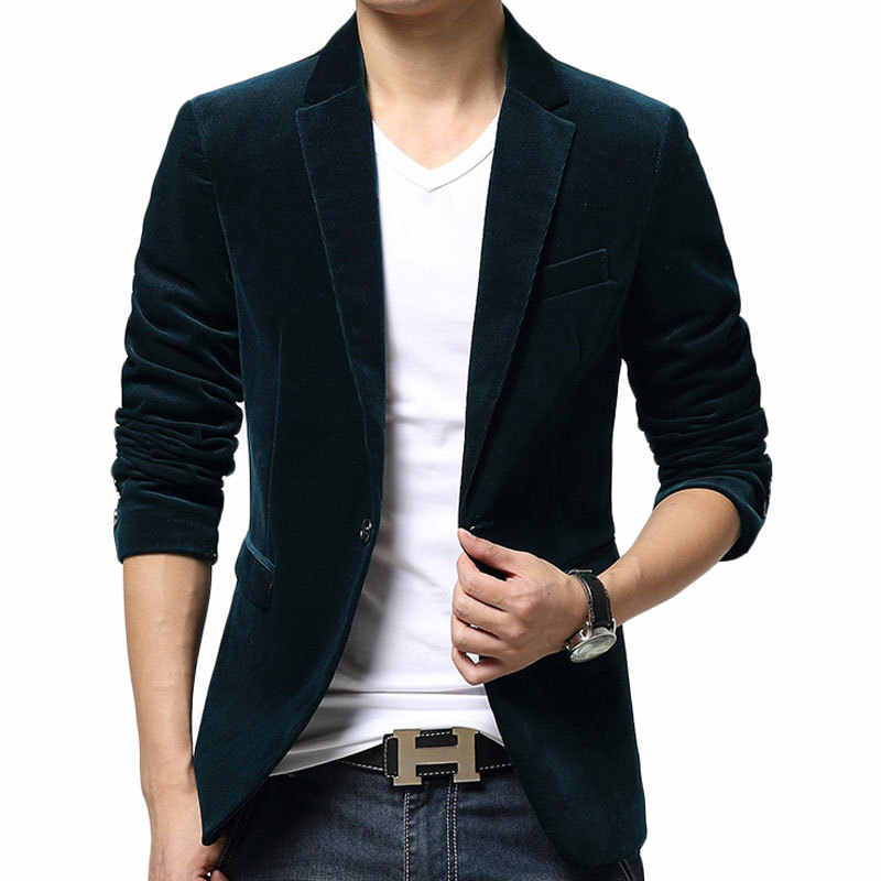 97468e3c08 New Black Blazer Men Autumn Winter Fashion Design Mens Slim Fit Blazer  Jacket Brand Single Button Wedding Blazer Suit Jacket