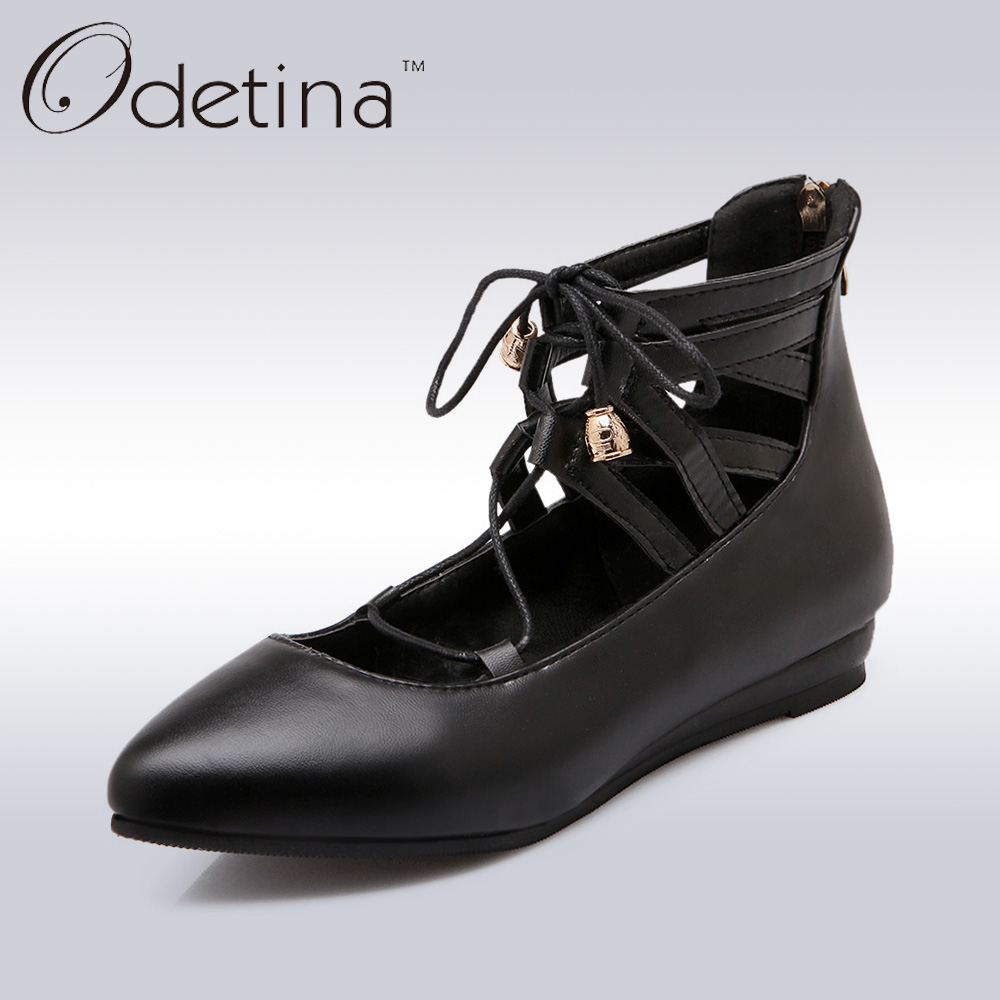 Odetina 2017 New Designer Lace Up Ballerina Flats Fashion Women Spring Pointed Toe Shoes Ladies Cross Straps Soft Flats Non-slip kbstyle 2017 new spring shoes for women brand pointed toe womens flats fashion young ladies casual shoes hot sale wholesale
