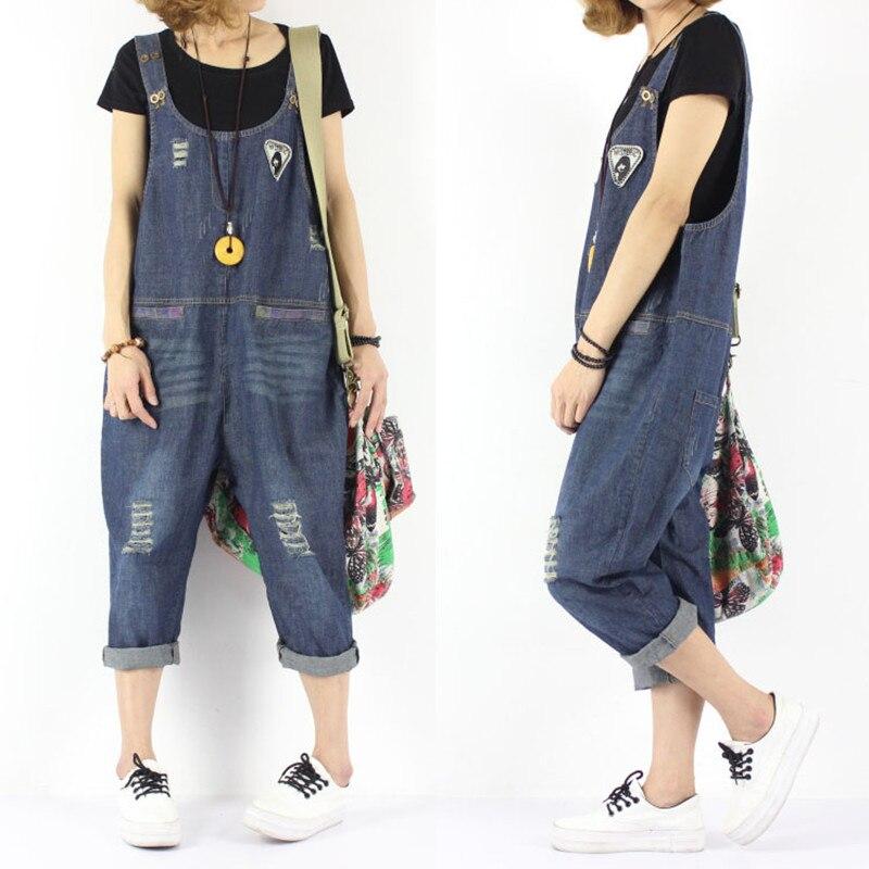 Free Shipping 2020 New Fashion Applique Denim Bib Pants 3/4 Pants Women Jumpsuit Loose Harem Pants Plus Size Pants With Holes