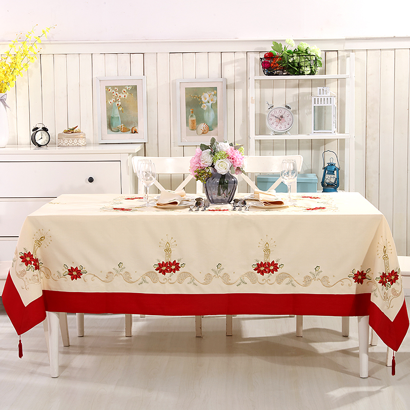 Embroidery Christmas Tablecloth And Table Runner Placemat 2 Size Available Big Size 175x265CM