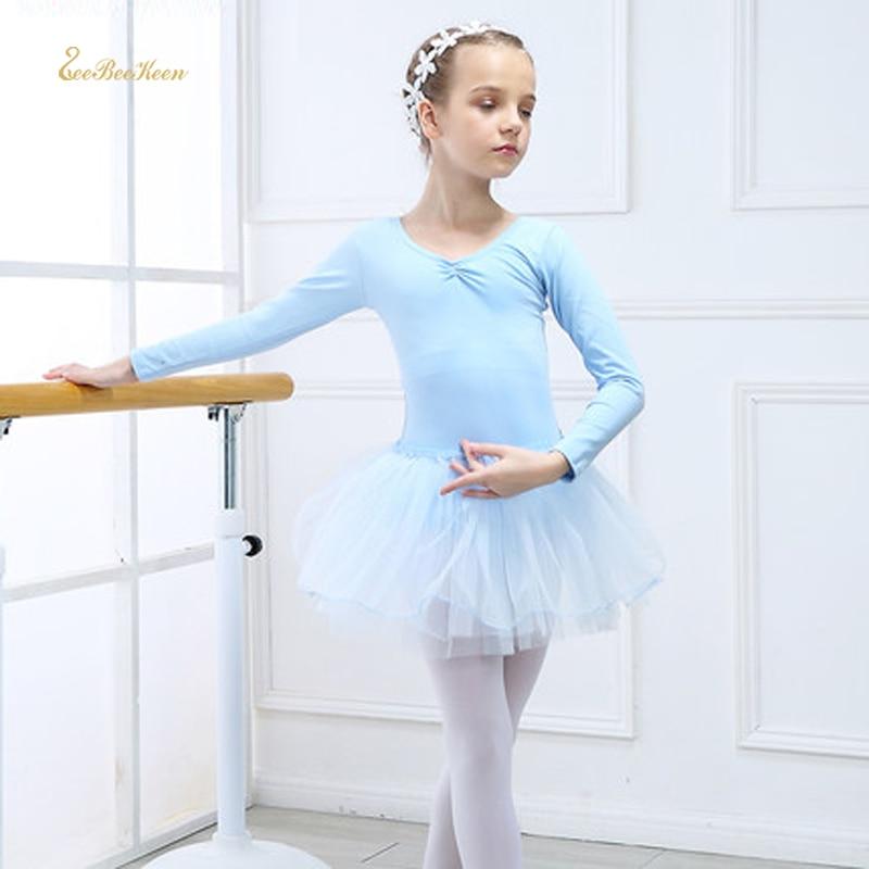 Long Sleeved Basic Ballet Dress Children Ballerina Clothes 3-12Y Girl Kids Ballet Dance Leotards Red Dance Dresses For Ballet