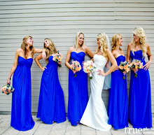 2016 Hot Royal Blue Bridesmaids Dresses Sweetheart Chiffon Floor Length Simple robe demoiselle d'honneur Wedding Guest Dress