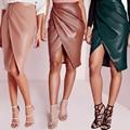 Saias Das Mulheres De Couro 2016 Primavera Outono PU Saia Midi de Alta Trabalho cintura Fenda Sexy Club Wear Bandage Bodycon Saia Lápis Vestidos