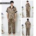 Spring Summer Autumn Sleeping Pajama Pyjamas Men Pijama Masculino Mens Sexy Sleepwear Male Faux Silk Satin Pajamas Men SY100#0