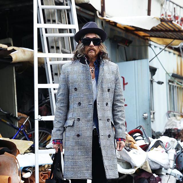 2017 hombres de la moda invierno cálido yuppie Británica abrigo de lana Pata de Gallo W710 P120