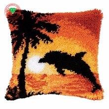 Funda de Almohada Costura paisaje kits de punto de cruz bordado hilo de alfombra esmirna Alfombra funda de Almohada bordado crochet ganchos