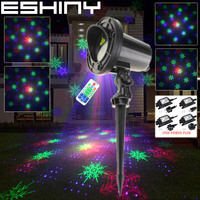 ESHINY Outdoor WF RGB Laser 18 snowflake Patterns Projector DJ Family Party Xmas Tree Wall Landscape Garden Light Show RGBF103