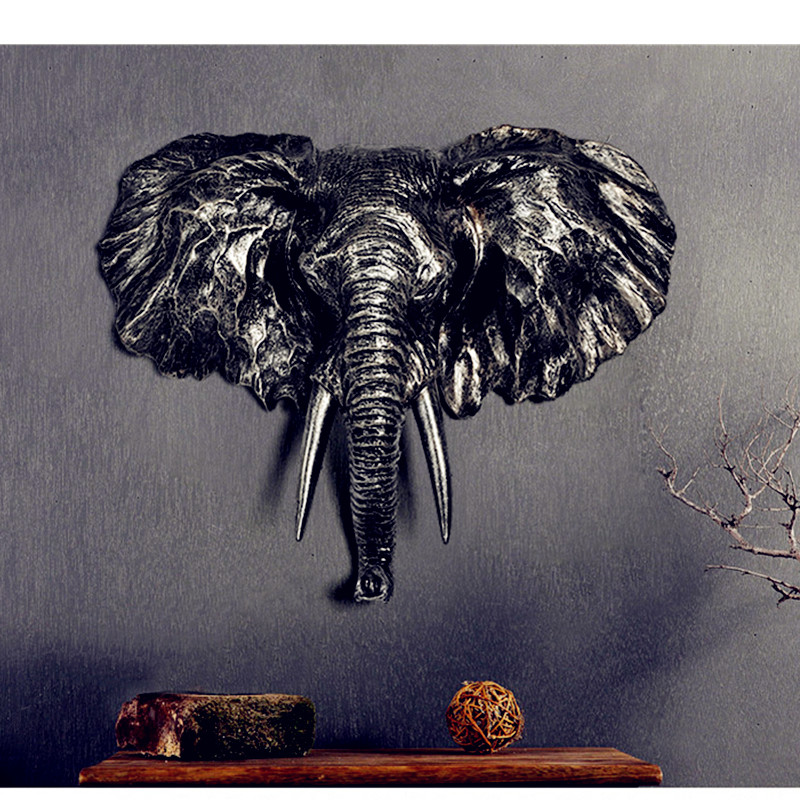 Elephant Head Wall Hanging Statue