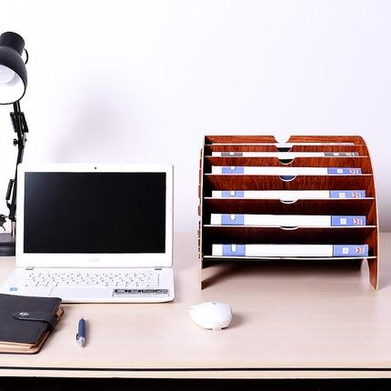 Kreative Desktop Aktenhalter Dokument Aufbewahrungsbox Dekorative Schreibtisch Veranstalter Holz Schreibtisch Sets - 3