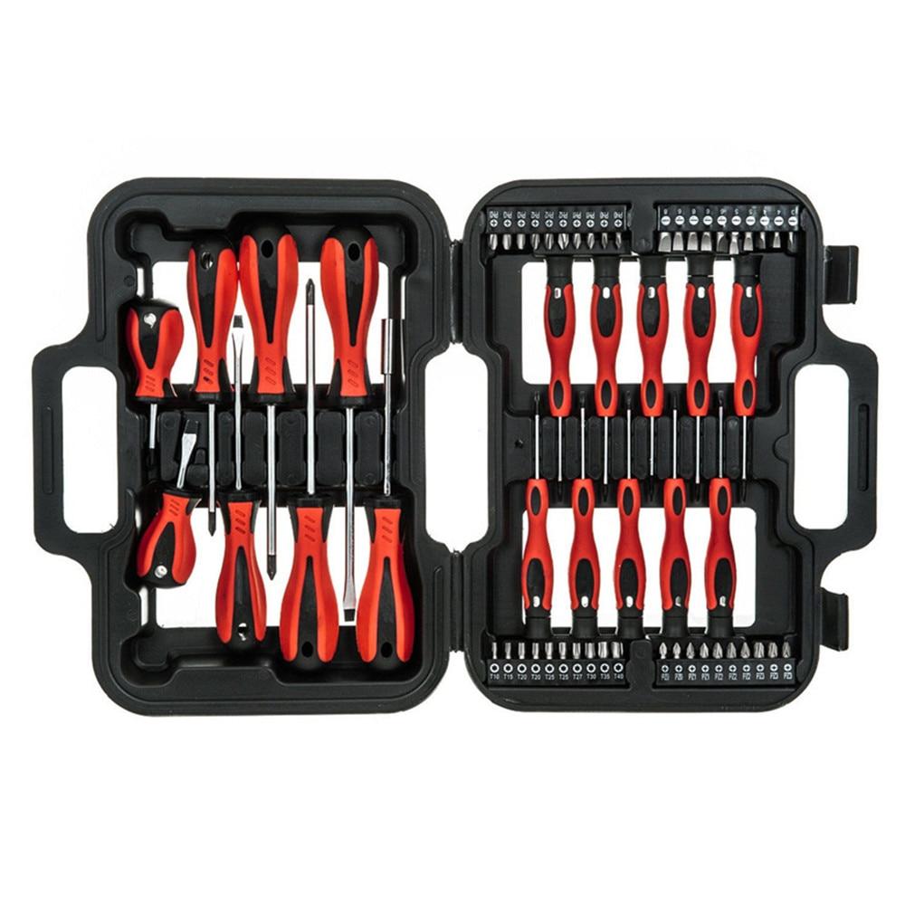 Купить с кэшбэком 58PC Screwdriver & Bit Set Precision Slotted Torx Pillips Tool Kit Mechanics Hand Tool Set
