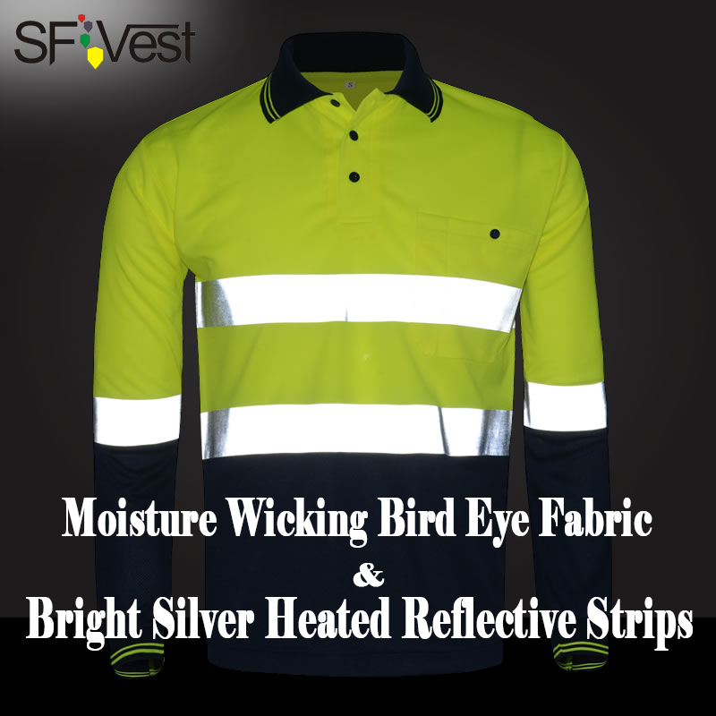 SFVest fluo yellow and navy blue work shirt breathable work clothes safety reflective t-shirt safety polo shirt free shipping solar 10a 10amp battery charge controller tracer1215bn 12v 24v auto work mppt epever usb sensor mt50 remote meter epsolar