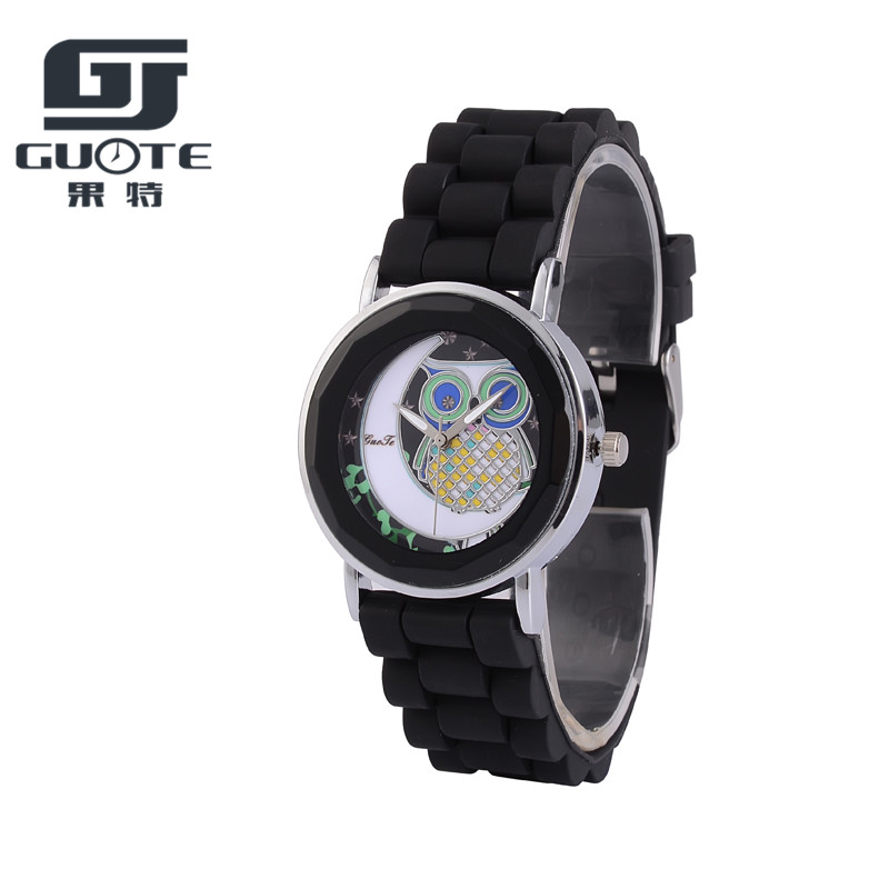 Montres GUOTE New Famous Brand Fashion Casual Cartoon Owl Watch Women Girl Silicone Strap Watches Quartz Wristwatch reloj mujer kingsky new fashion small women watches famous design quartz watch black pu leather strap wristwatch
