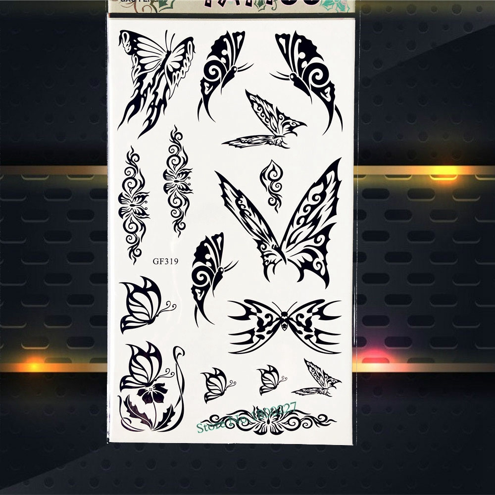Black Henna Tattoo Butterfly Fake Flash Body Art Arm Tattoo Stickers PGF319 Flower Women Makeup Party Tattoo Self Adhesive