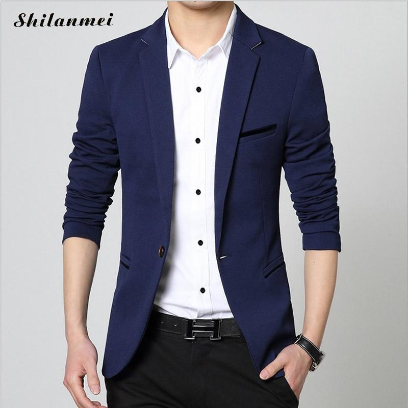 2018 Autumn Solid Men Blazer New Slim Fit High Quality Black Blazer Male 2018 Fashion Brand Blazer Men Suits Plus Size 5xl 4xl