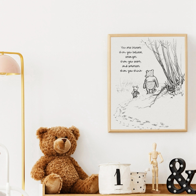 HTB1Xmu1UCzqK1RjSZFjq6zlCFXap Winnie The Pooh Quotes Canvas Posters and Prints Classic Cartoon Movie Art Painting Black White Picture Kids Room Wall Art Decor
