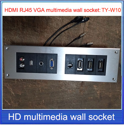 HD HDMI Socket \   VGA USB 2.0  RJ45 3 3.5 AUDIOwall Socket /Aluminum Alloy /multimedia Home Hotel Rooms KTV Wall Socket TY-W10