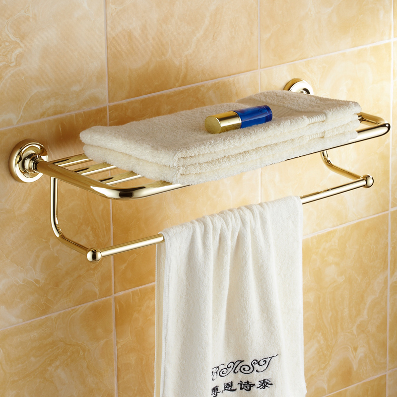 Luxury classic gold zirconium towel shelves antique plated - Bathroom towel holders accessories ...