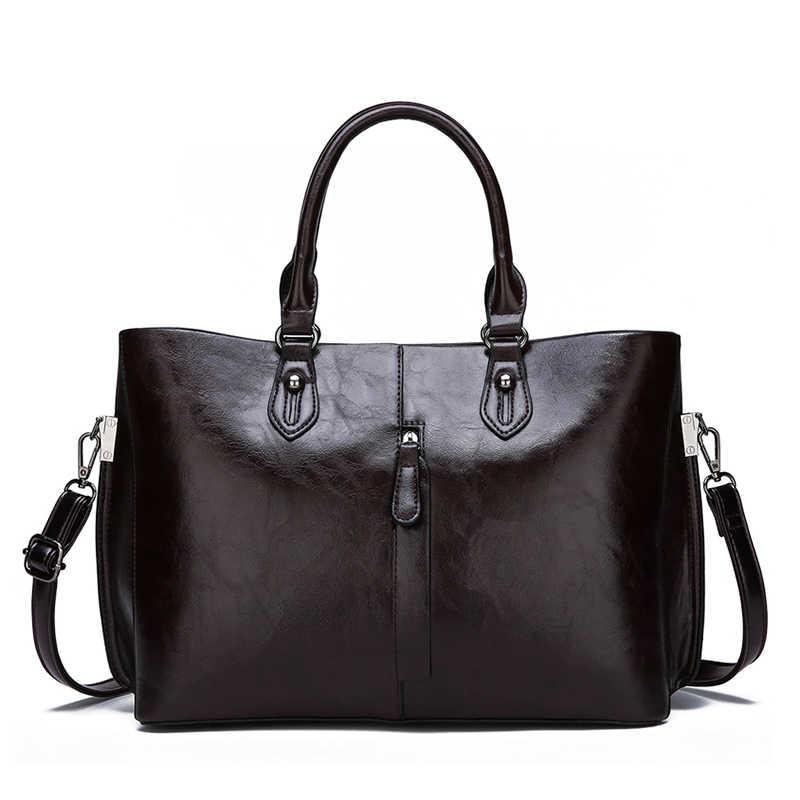 High-Grade Oil Wax Skin Two Sets of Composite Bag Ladies Handbags New Fashion High Quality Casual Wild Shoulder Messenger Bag