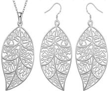 2015new 925 sterling silver hollow big  leafage drop earring necklace  for women girls fine fashion jewerly wholesale
