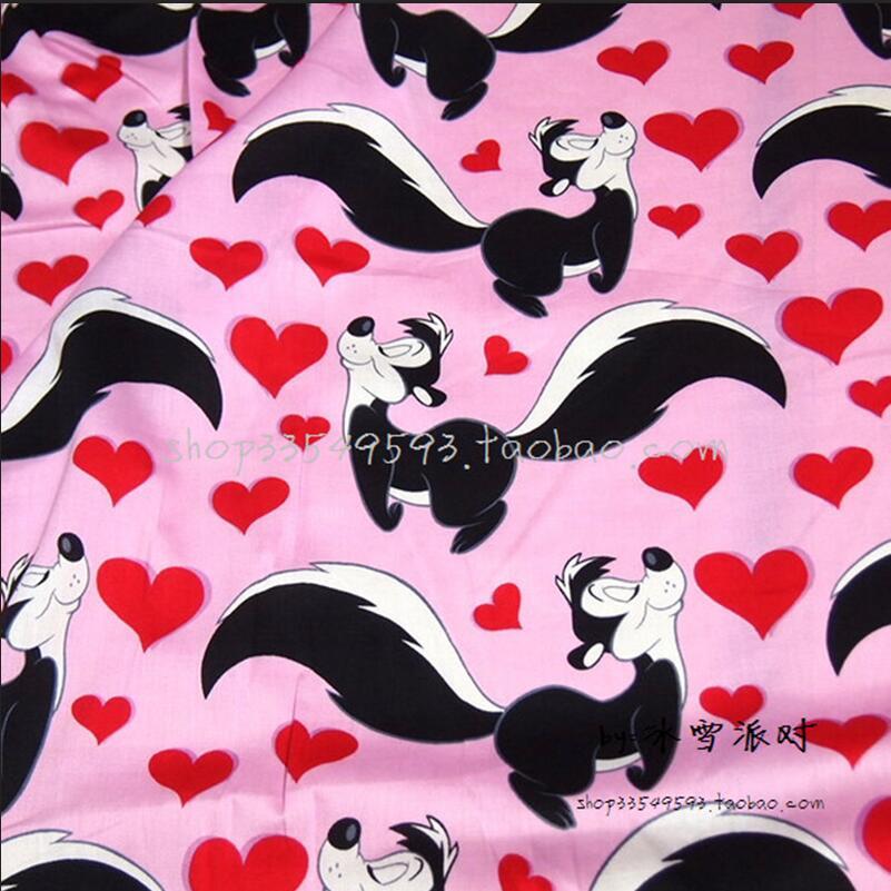 Ancho 140cm Tela de algodón 100% Satén Rosa Warner Bros Tela impresa Patchwork Material de costura Ropa de niña de bricolaje Vestido de tela