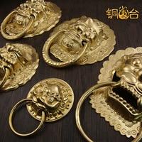 Chinese antique door ring handle beast head lion tiger head door handle to open the door wooden door courtyard handle copper tab