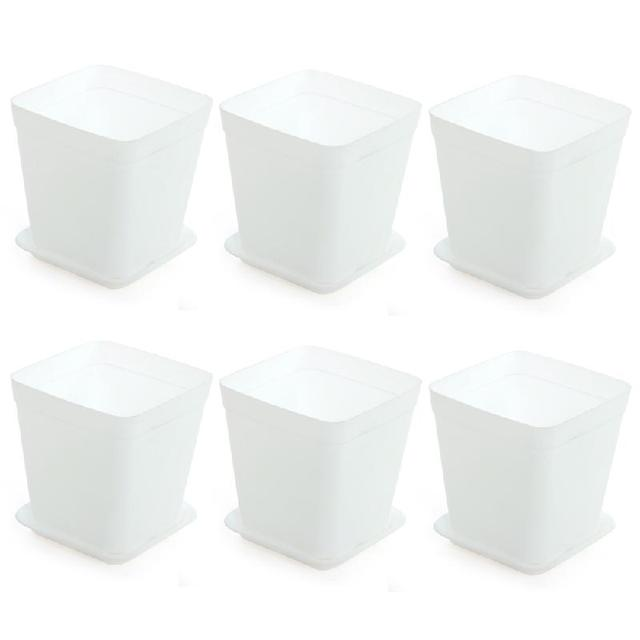 6pcs Pack Flower Pot Mini Square Plastic Planter Nursery Garden Desk Home Decor Candy Color